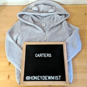 CARTER'S Grey Soft Plush Zip Hoodie with Ears